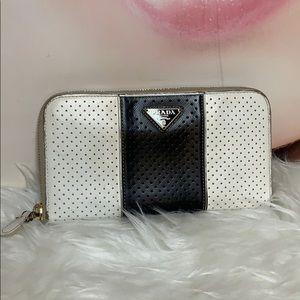 Prada long zippy wallet black and white color